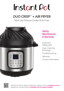 Duo Crisp™ + Air Fryer Safety Maintenance and Warranty